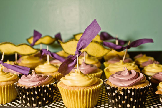 purple and yellow cupcakes