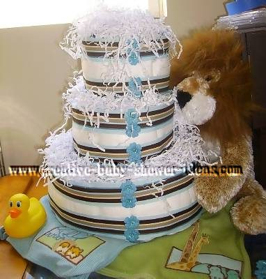 lion and stripes nappy cake