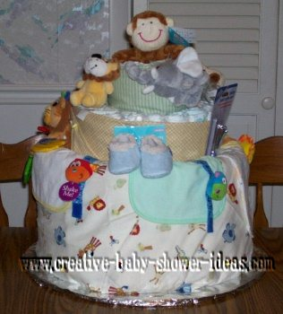 nappy cake, jungle diaper cake