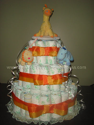 orange giraffe nappy cake