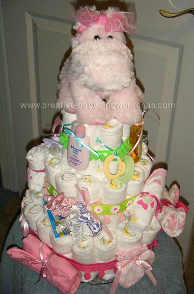 pink hippo nappy cake