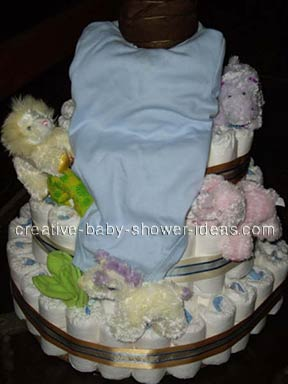 closeup of clothing waterfall on diaper cake