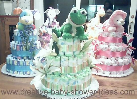 animal nappy cake centerpieces