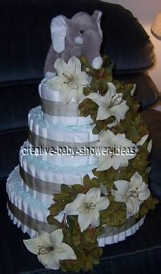4 tier grey cream and green diaper cake with cascading flowers and grey  elephant