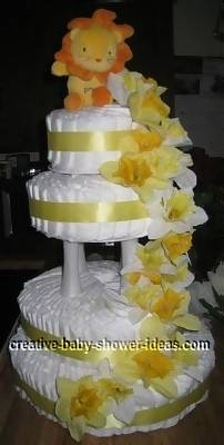 4 tier boutique style lion diaper cake
