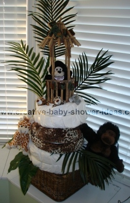 jungle monkey in baboo hut on diaper cake
