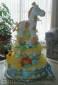side view of giraffe diaper cake