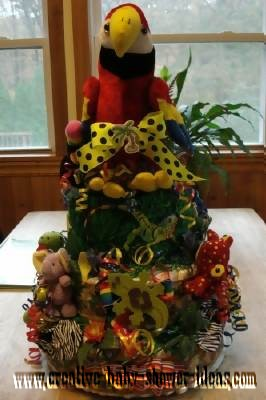 rainforest parrot diaper cake
