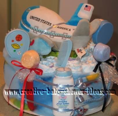 boy airplane nappy cake