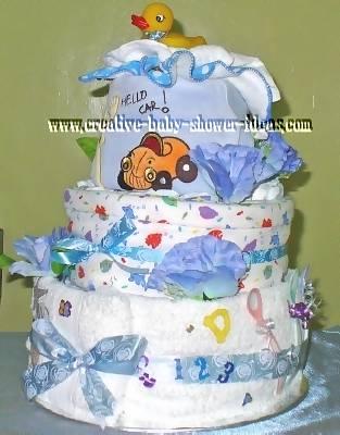 blue cars nappy cake