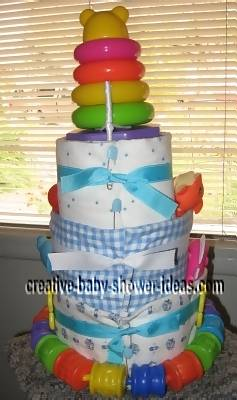 back of baby stacker toy nappy cake