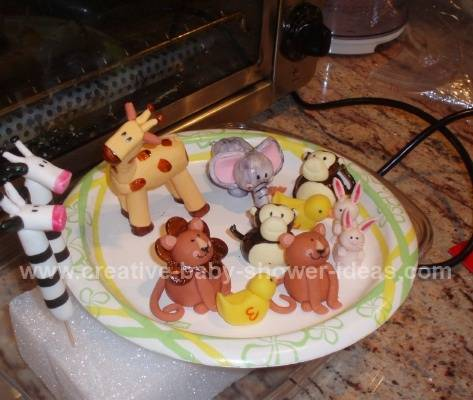 finished gum paste animals for noahs ark cake