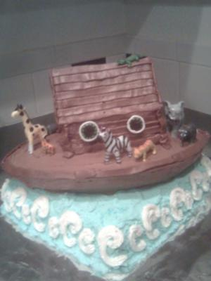 Noahs Ark Baby Shower Cake With Ocean Water
