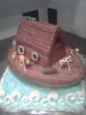 Another Angle Of Noahs Ark Baby Shower Cake with Ocean