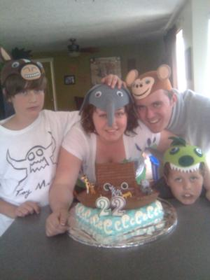 family with animal faces for party