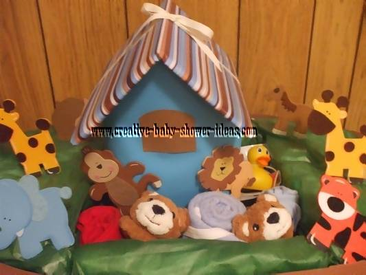 closeup of baby animals on noahs ark diaper cake