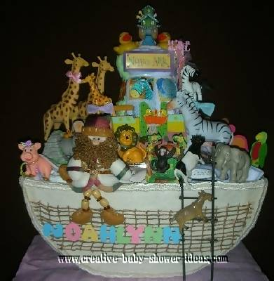 twins noahs ark diaper cake