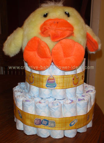 orange ducky diaper cake