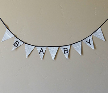 pendant book themed baby shower banner