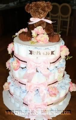 boutique bear diaper cake with pink roses