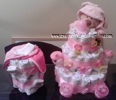 2 pink teddy bear diaper cakes
