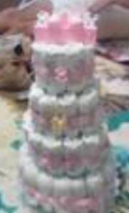 pink girl diaper cake