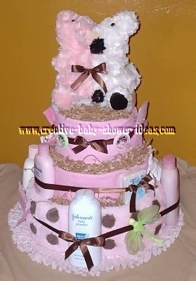 pink and white chocolate polka dot diaper cake