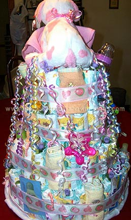 back of princes diaper cake