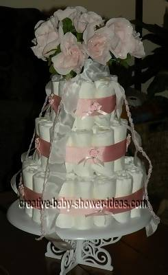 bright orange flower diaper cake