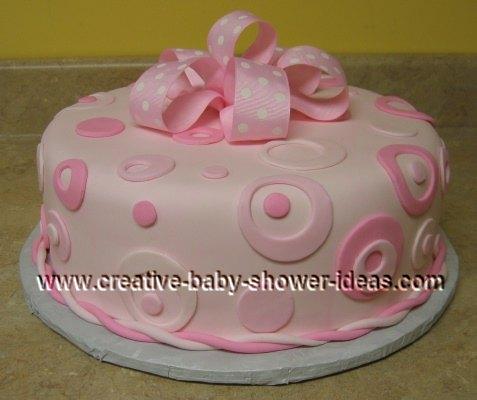 pink polka dot circles baby cake