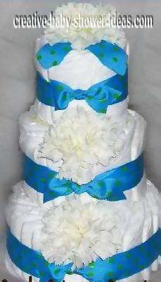 blue and white carnation diaper cake