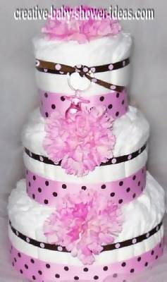 pink polka dot princess diaper cake
