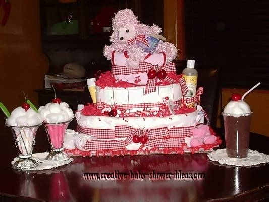 red and white cherry poodle dog diaper cake