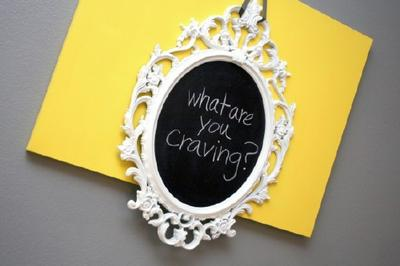 custom white framed chalkboard hanging on yellow canvas board