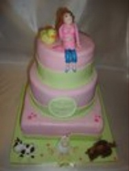3 layer pink and green pregnant belly cake