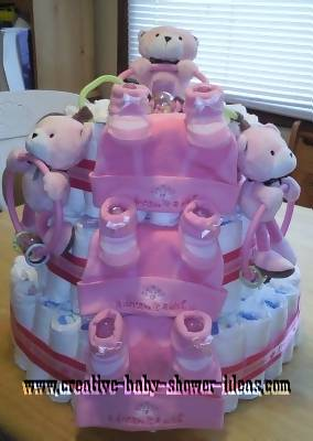 pink teddy bear princess diaper cake