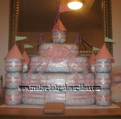 pink and white princess diaper cake