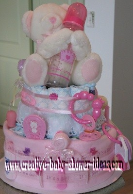 its a girl princess diaper cake