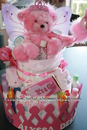 pink princess teddy bear diaper cake