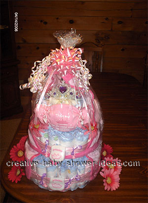 wrapped princess crown diaper cake