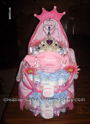 pink princess crown diaper cake