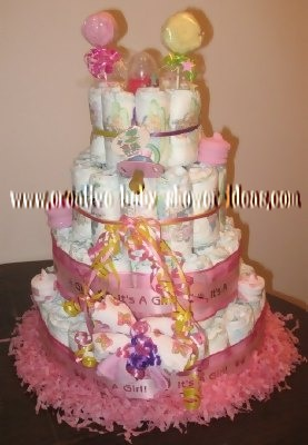 pink washcloth lollipop princess castle diaper cake