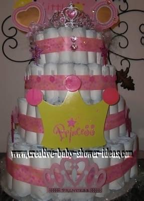 pink crown princess diaper cakee