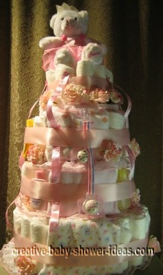 pretty in pink princess diaper cake