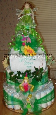 green fairy princess diaper cake