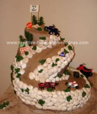 racetrack and jeeps baby shower cake