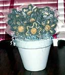 blue and yellow rice crispy treat flower bouquet