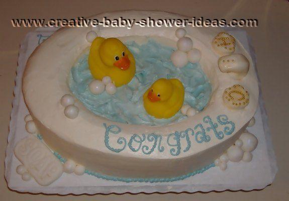rubber ducks in a bathtub cake