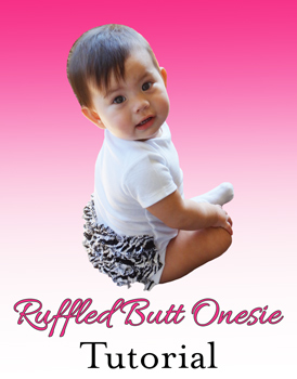 Cute baby wearing a ruffled butt onesie