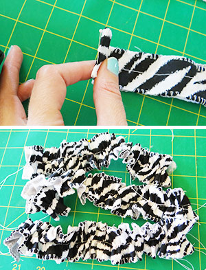 creating ruffles for the baby onesie